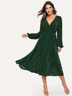 Surplice Neck Belted Glitter Longline Dress