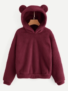 Solid Teddy Hoodie With Ears