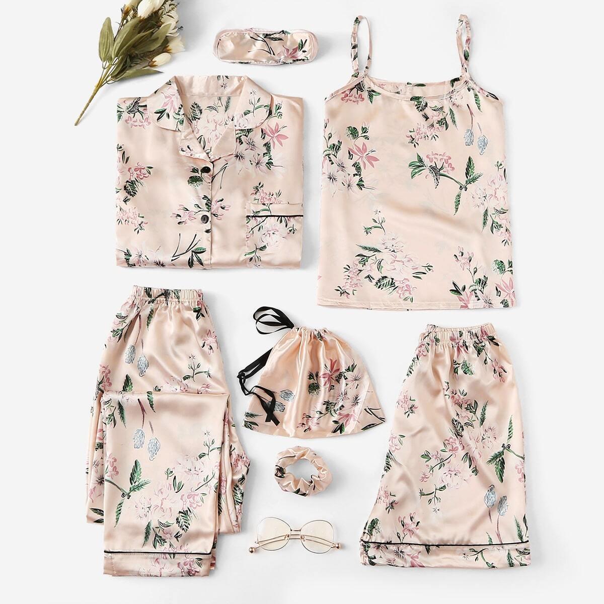 Abrikoos Elegant Bloemen Lounge kleding Knoop