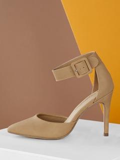 Pointy Toe Dorsay Stiletto Heel Ankle Strap Pumps