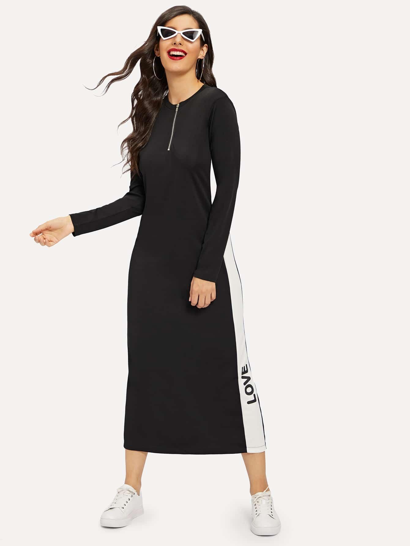 Купить Длинное платье с застёжкой молния и текстовым принтом, Jeane, SheIn