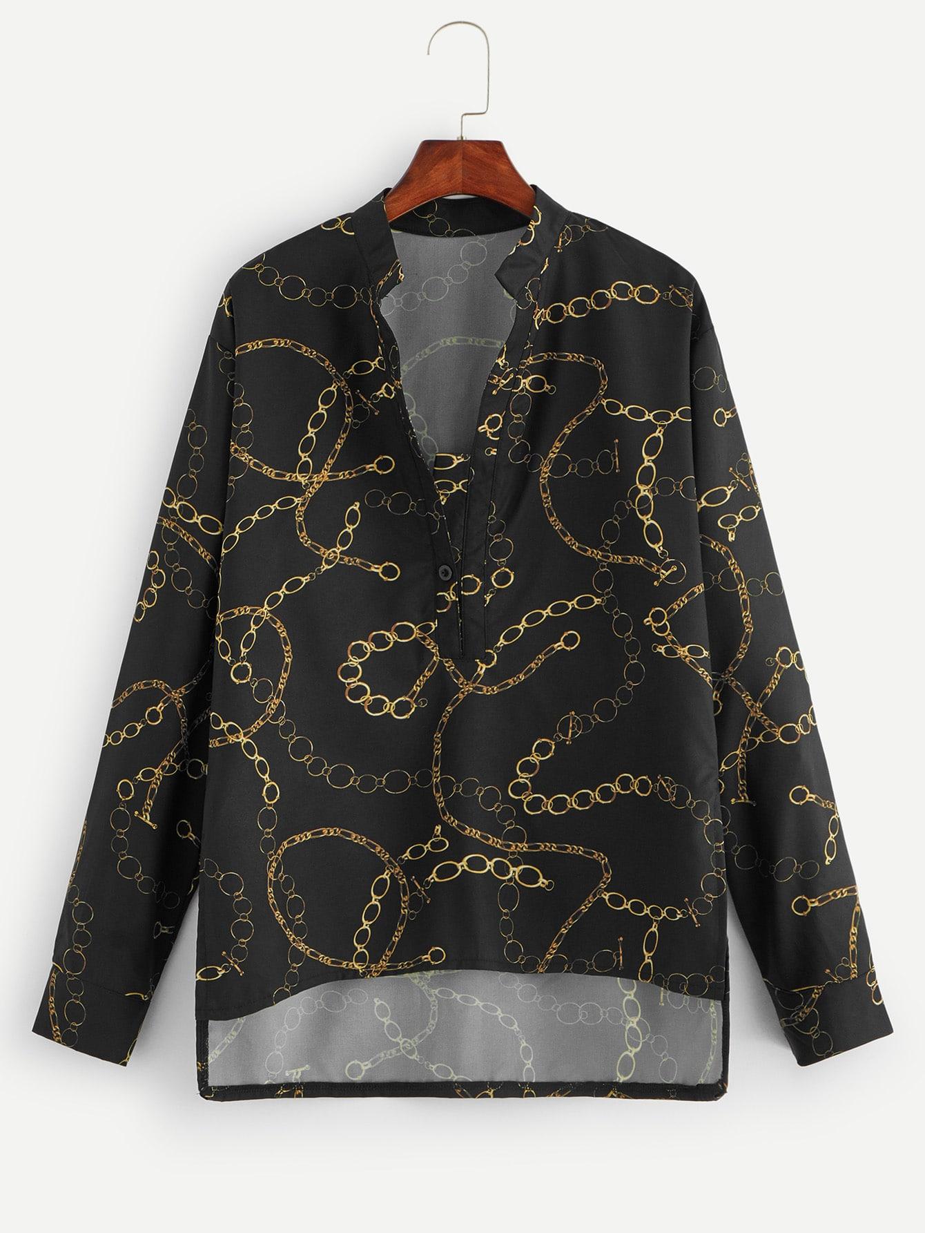 Купить Асимметричная блуза с графическим принтом, null, SheIn