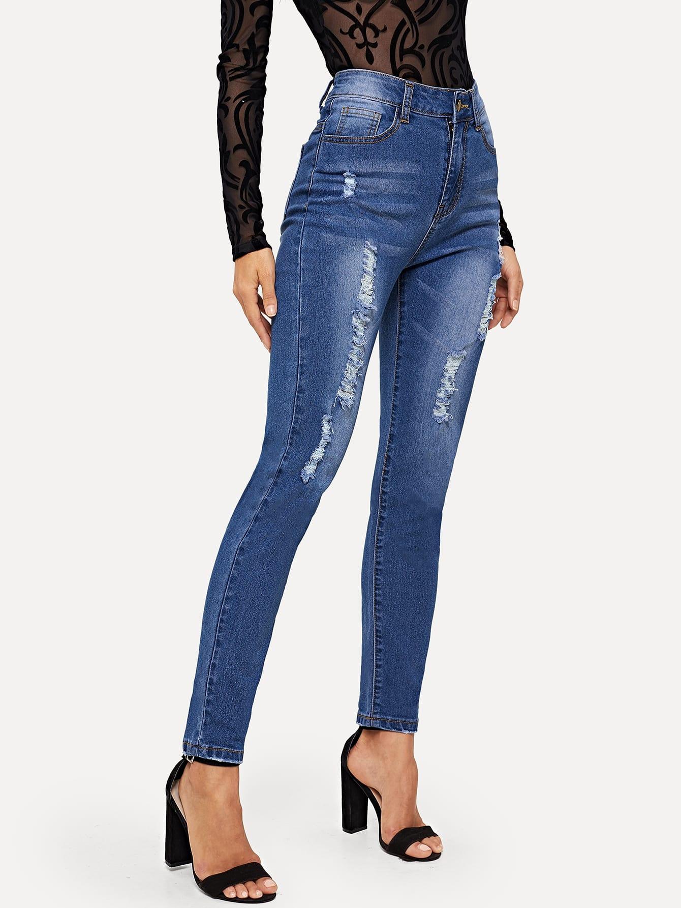 Купить Однотонные рваные обтягивающие джинсы, Juliana, SheIn