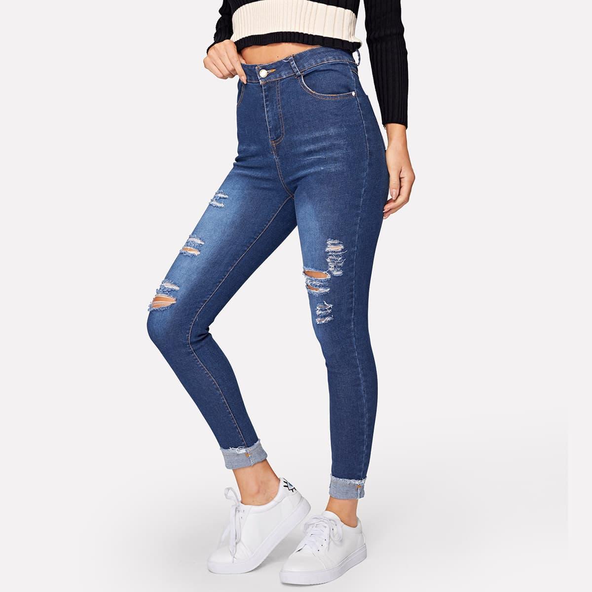 Однотонные рваные обтягивающие джинсы