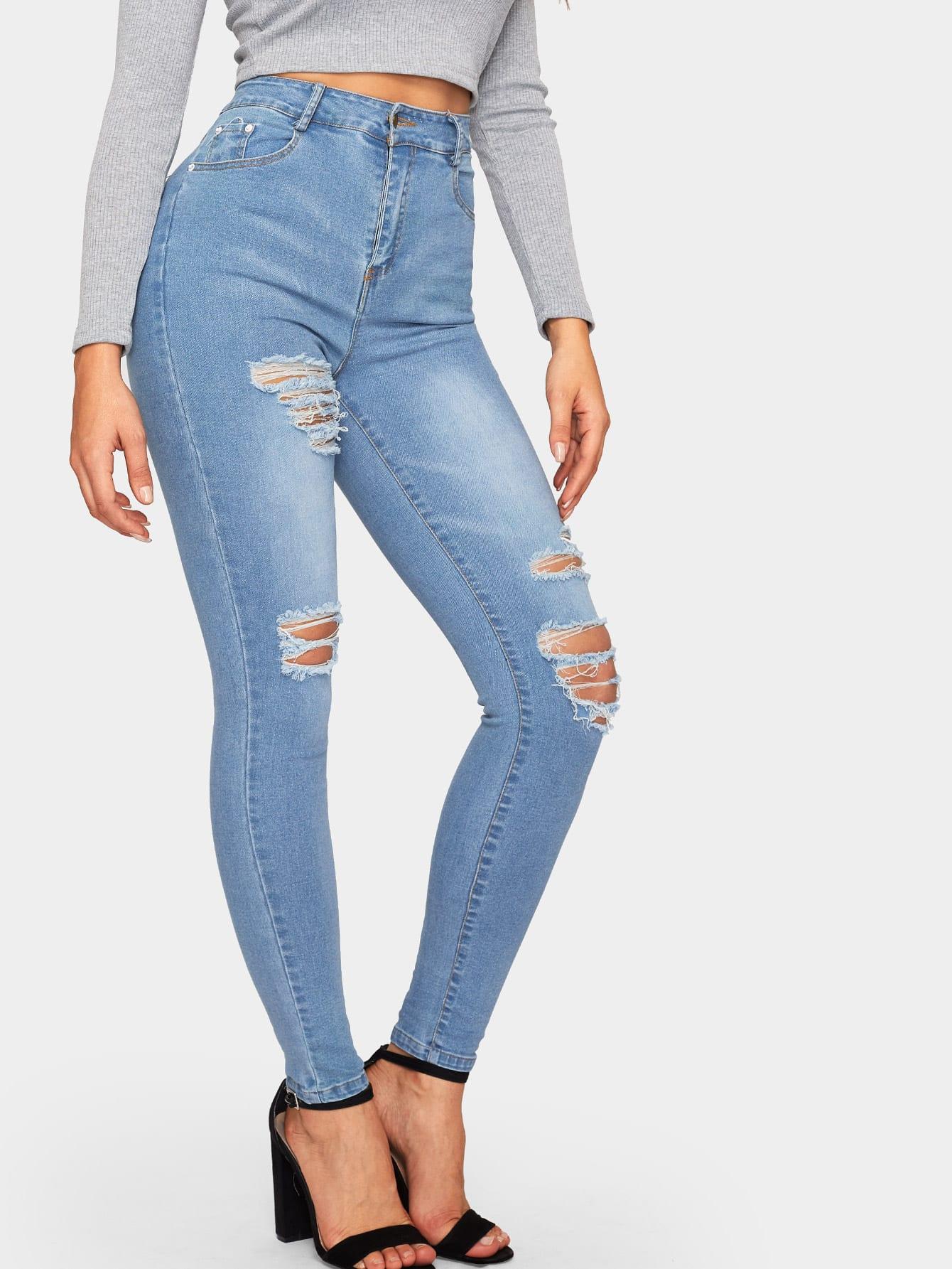 Купить Однотонные рваные обтягивающие джинсы, DANI A, SheIn