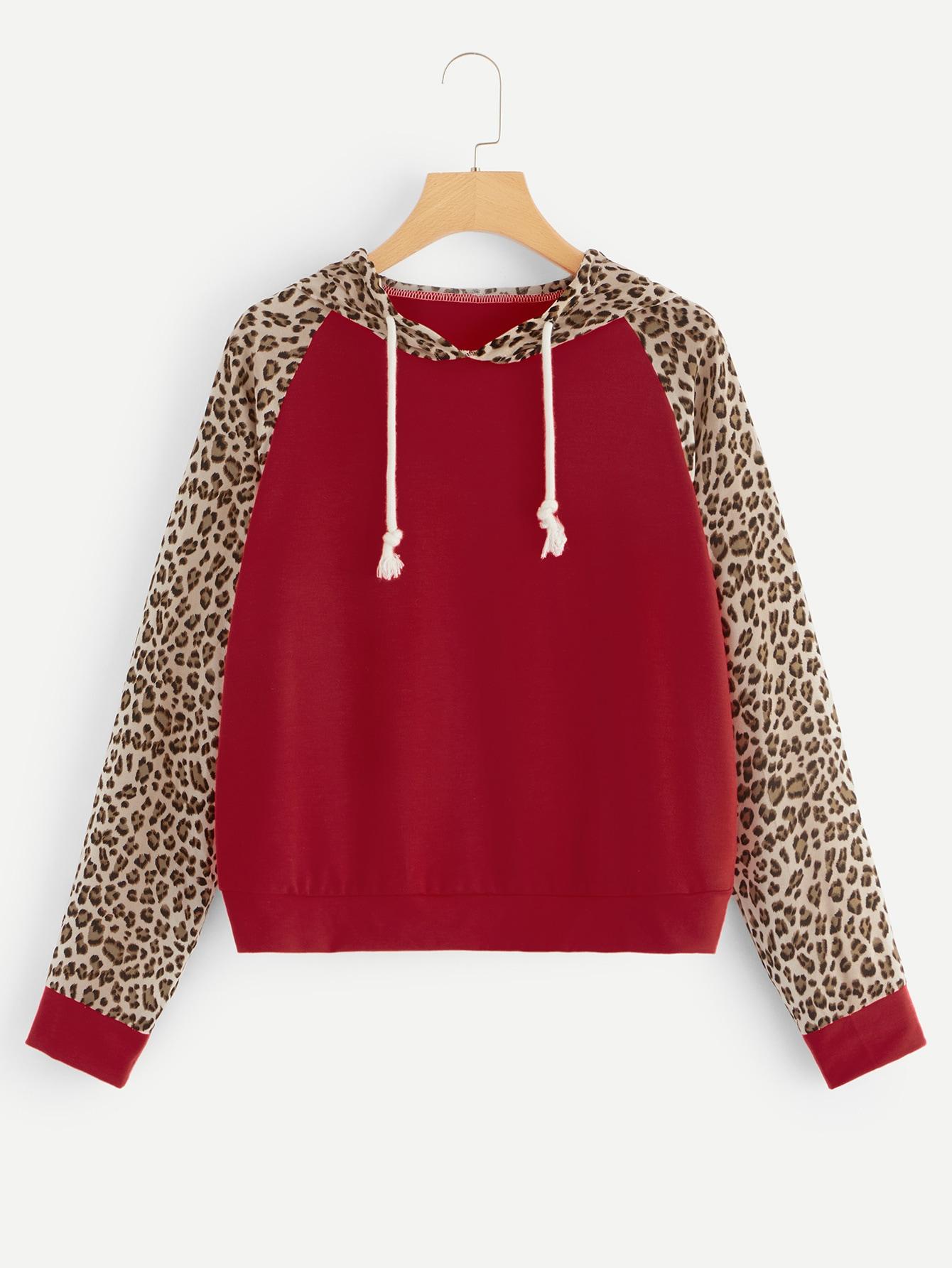 Купить Свитшот с капюшоном и контрастным леопардовым принтом, null, SheIn