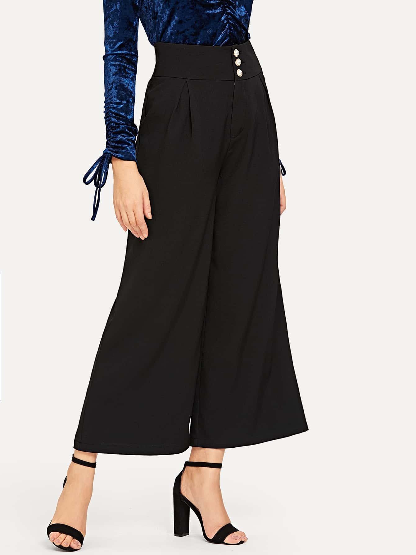 Купить Широкие брюки с высокой талией и пуговицами, Nathane, SheIn