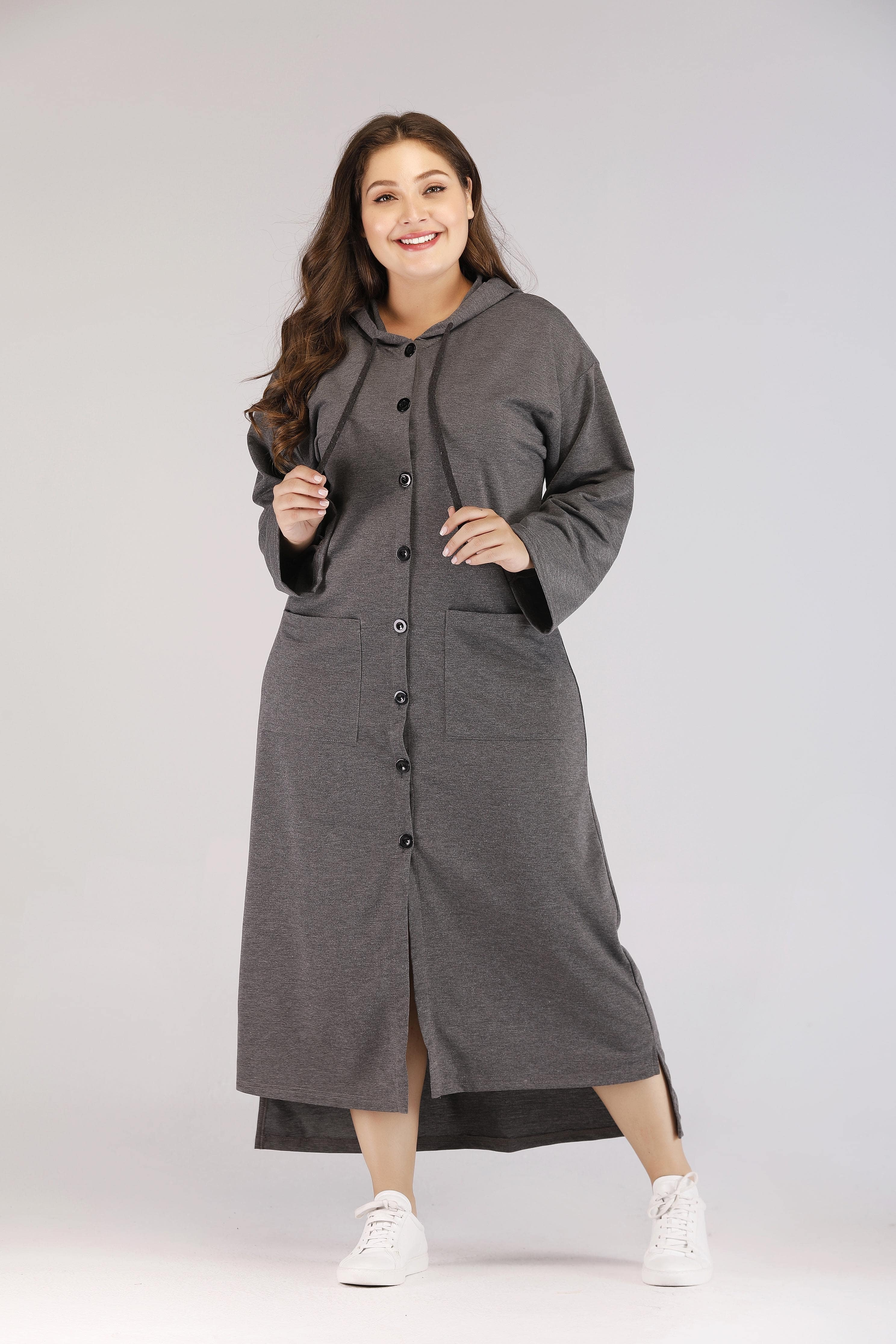 Размера плюс однобортное асимметричное платье с карманом