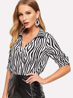 V-cut Neck Roll Tab Sleeve Zebra Top