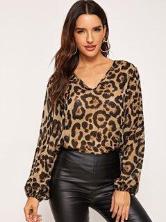 Blouson Sleeve Leopard Top