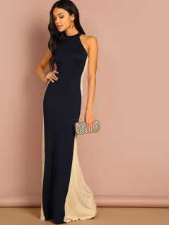 Color Block Halter Dress
