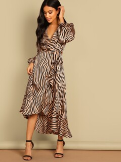 Surplice Wrap Ruffle Hem Zebra Dress