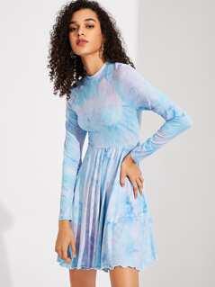 Raglan Sleeve Tie Dye Fit & Flare Dress