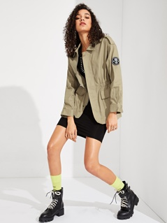 Graphic Patched Elastic Waist Utility Jacket
