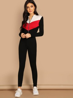 O-ring Zip Front Colorblock Unitard Jumpsuit