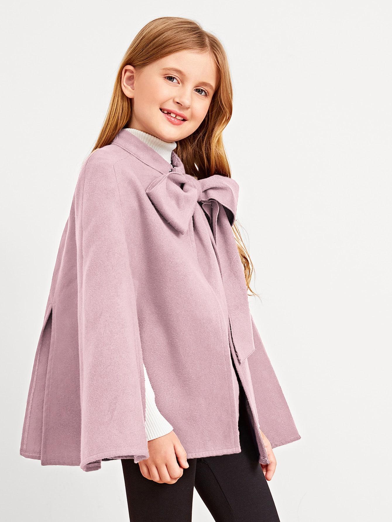 Купить Однотонное пальто-пончо с завязкой на шее для девочек, Dariab, SheIn