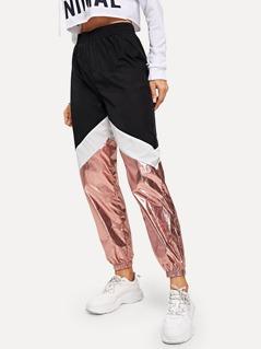 Color-block Contrast Metallic Pants