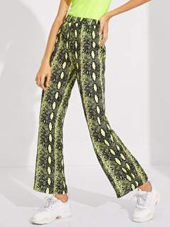 Neon Lime Snakeskin Straight Leg Pants