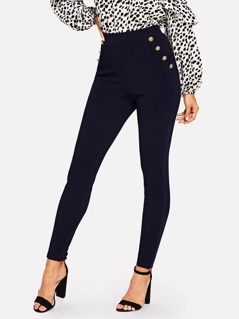 Button Detail Slant Pocket Skinny Pants