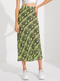 Neon Lime Snakeskin Skirt