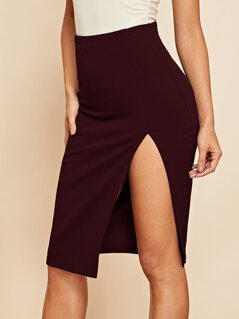Solid Split Bodycon Skirt