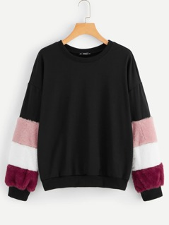 Contrast Faux Fur Colorblock Sweatshirt