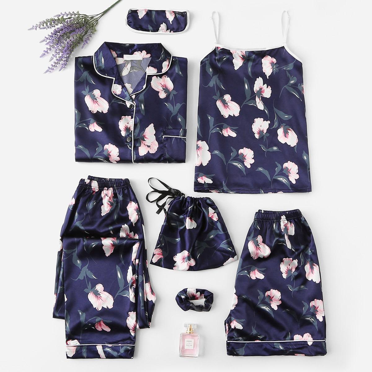 SHEIN / Satin Pajama mit Blumen Muster Set 7 pcs