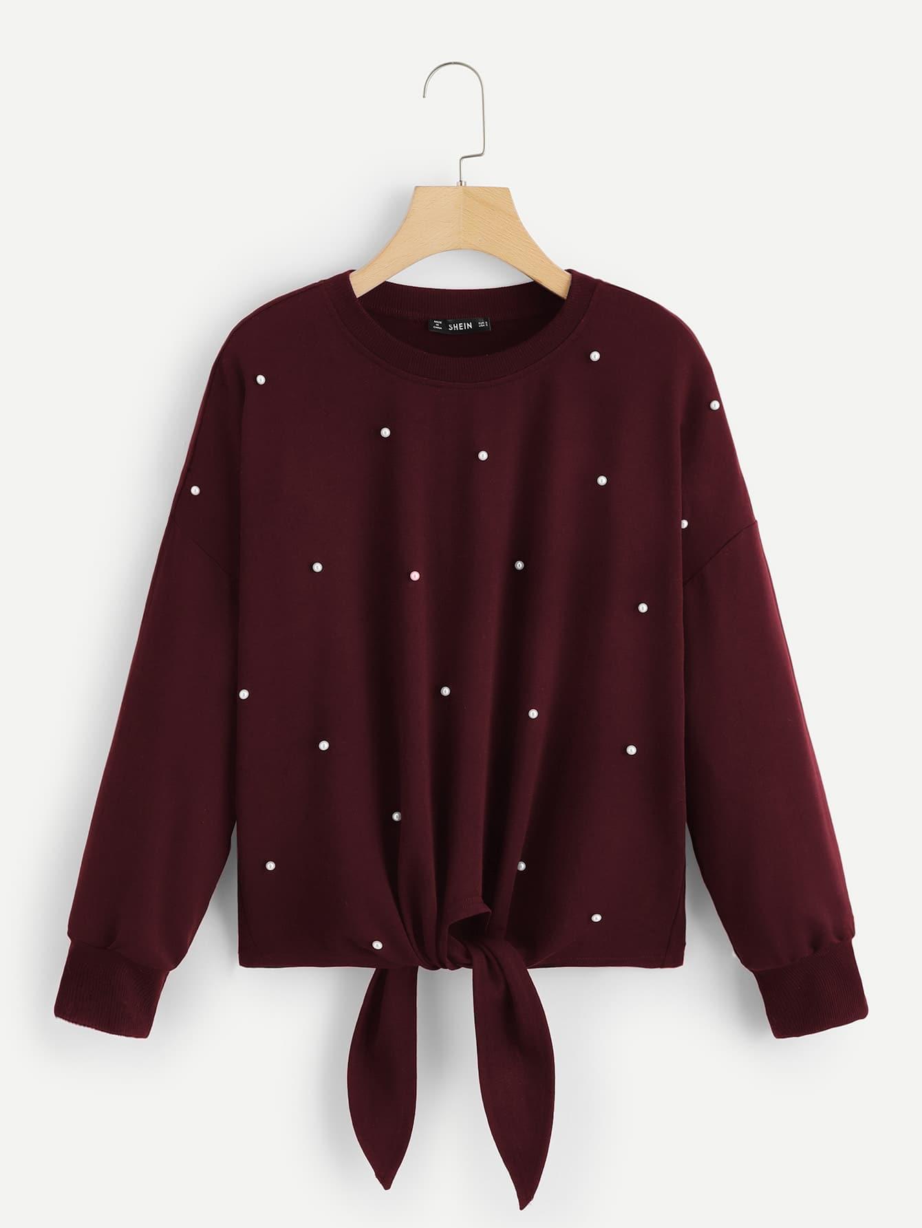 Купить Пуловер с жемчугами и узлом, null, SheIn