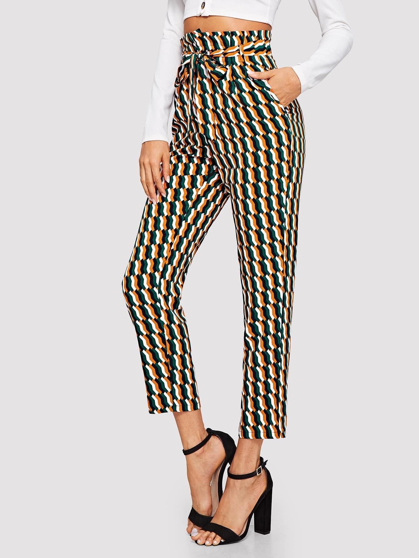 Купить Геометрические брюки с поясом и высокой талией, Andy, SheIn