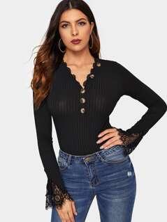 Eyelash Lace Trim Rib-knit Tee