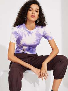 O-ring Front Ruched Tie Dye Tee