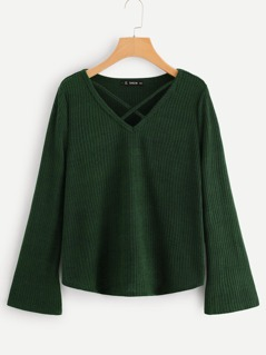 Crisscross Front Ribbed Knit Tee
