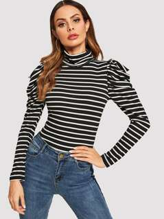 High Neck Leg-of-mutton Sleeve Striped Tee
