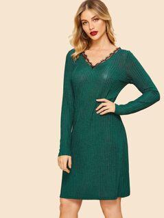 80s Lace Insert V Neck Ribbed Knit Dress