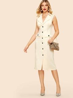 80s Button & Pocket Front Notch Neck Solid Dress