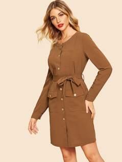 80s Waist Belted Pocket Button Dress