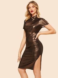 80s Mock-neck Split  Metallic Dress