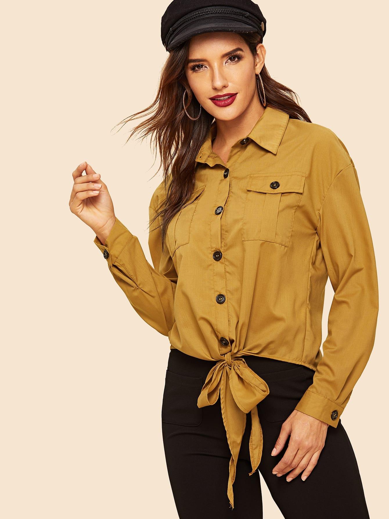 Фото - 80 'S блузка с карманом с узлом от SheIn желтого цвета