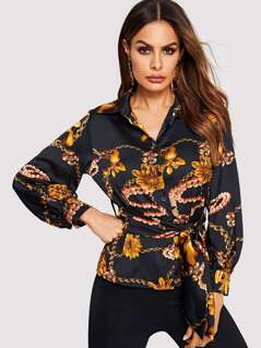 Mixed Print Self Belted Buttoned Shirt