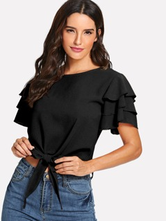 Layered Ruffle Sleeve Knot Hem Top