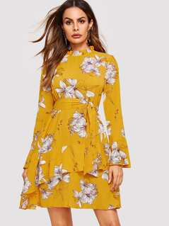 Bell Sleeve Frilled Neck Floral Dress