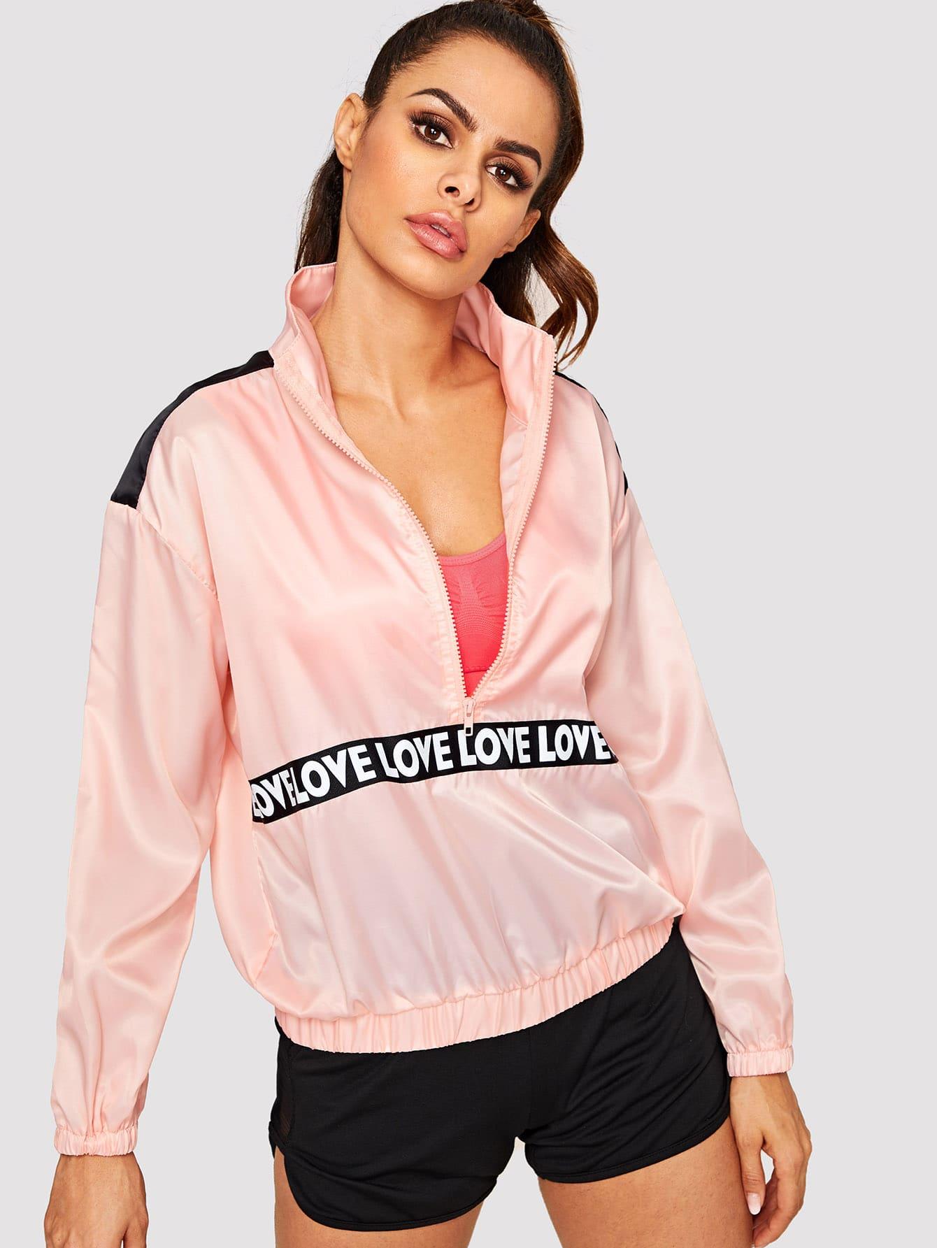 Купить Куртка с текстовым принтом и молнией, Andy, SheIn