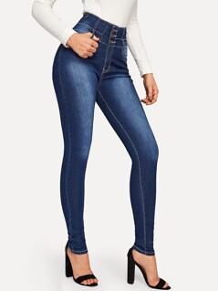 Button Fly High Waist Bleached Jeans