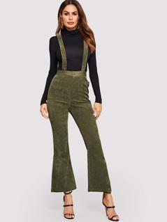 Pocket Front Flare Leg Pinafore Pants