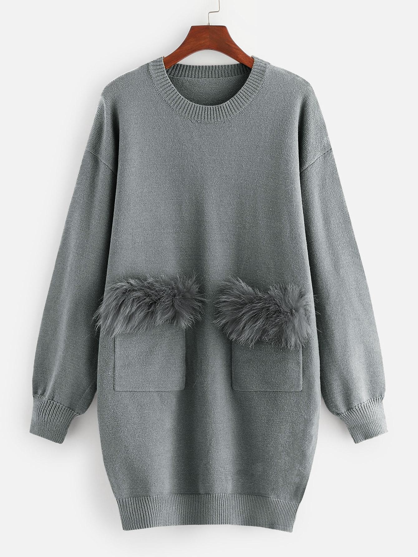 Купить Вязяное платье с карманом из искусственных мехах, null, SheIn