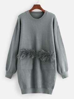 Faux Fur Pocket Patched Knit Dress