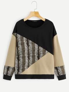 Cut-and-sew Snake Print Sweatshirt