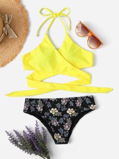 Cross Wrap Halter Top & Floral Panty Bikini Set