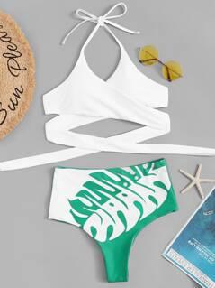 Cross Wrap Halter Top & Tropical Panty Bikini Set