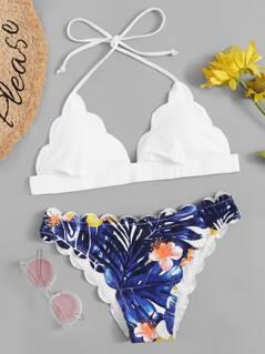 Tropical Print Scalloped Bikini Set